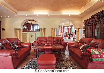 Colonial style living room - Photo of colonial style living...
