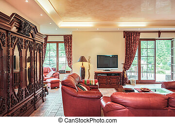 Spacious lounge with antique closet - Image of spacious cosy...
