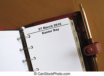 Easter Day reminder in an organiser - Easter Day reminder in...