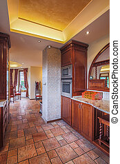 Old style kitchen - Image of old style kitchen with solid...
