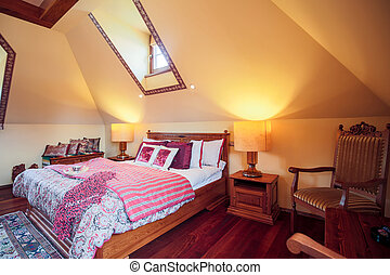 Solid bed with decorative bedding - Picture of solid bed...