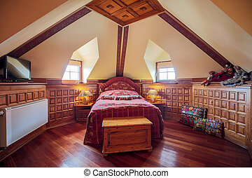 Single bed in bedroom - Photo of single bed in old style...