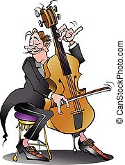 Classic cello player - Vector cartoon illustration of a...