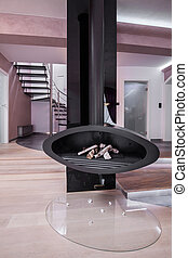 Black and metal fireplace