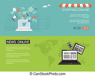 design for website of news, shop - Flat design modern vector...