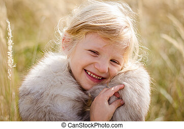 happy smiling girl - beautiful little happy smiling blond...