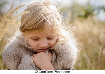 adorable freezing girl - beautiful little freezing blond...