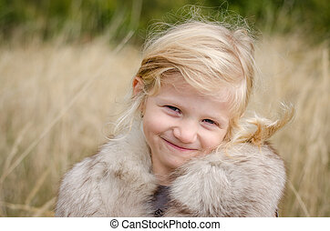 smiling blond girl portrait - beautiful little happy smiling...