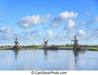 Wind mill of Netherland - Wind mills of Zaanse Schans, a...