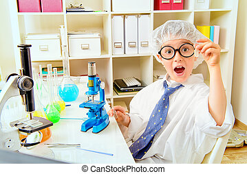 reaction - A boy is studying in the laboratory He is shocked...