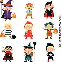 Kids in Halloween Costumes Vector Illustration - Children...