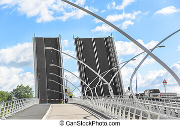Details of modern bridge. - Details of car modern drawbridge...
