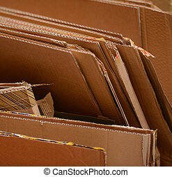Stack of used cardboard ready for recycling