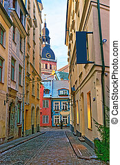Narrow streets in the capital of Latvia - Narrow medieval...