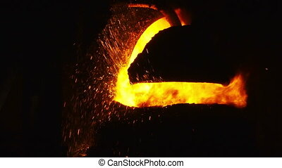 Sparks from the BOF - Pouring of liquid metal Iron and steel...