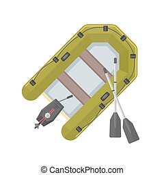 vector flat style inflatable boat illustration - vector...