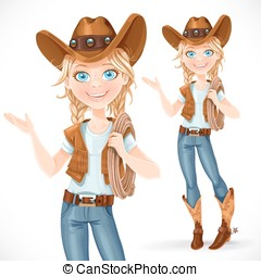 Beautiful girl in a cowboy hat and with lasso says...