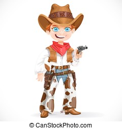 Cute boy dressed as a cowboy with revolver isolated on a white background