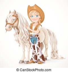 Cute girl dressed as a cowboy holds the reins saddled horse isolated on white background