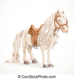 Cute saddled little pony horse isolated on a white...