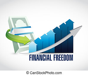 financial freedom business graph sign concept illustration...