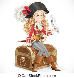 Cute pirate girl with parrot sit on big chest isolated on a...
