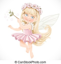 Cute little spring fairy girl in a pink tutu with a Magic...