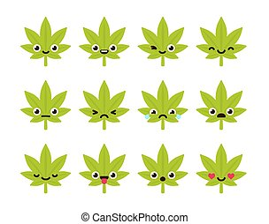 Cute cannabis emoticons - Cute emoticon set: adorable...
