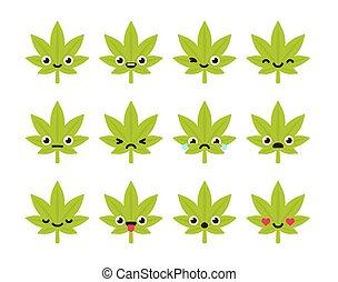 Cute cannabis emoticons - Cute emoticon set: adorable...
