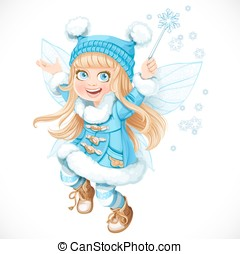 Cute little winter fairy girl in a blue coat with a Magic...