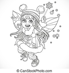 Cute little winter fairy girl in a blue coat with a Magic wand outlined isolated on a white background