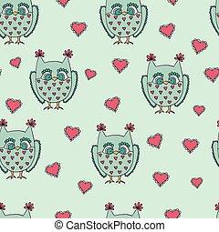 Cute cartoon vector owls. Vector pattern. - Cute cartoon...