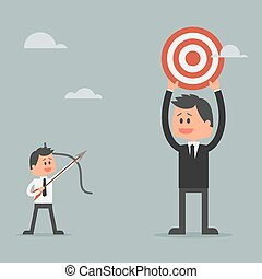 Businessman climbing ladder to success. Motivation and goal concept for successl in business.