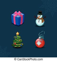 Christmas icons collection. Vector illustration.