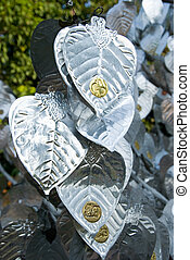 Detail of tree with silver leaves at Wat Lok Malee, a Lanna...