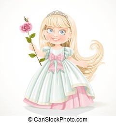 Cute little princess with long hair in tiara isolated on...
