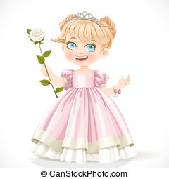 Little cute princess in tiara with beautiful white rose on a long stalk isolated on a white background