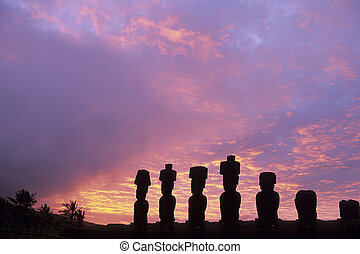 Moai- Easter Island, Chile - Moai statue with topknots pukao...