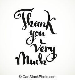 Thank you very much calligraphic inscription on a white...