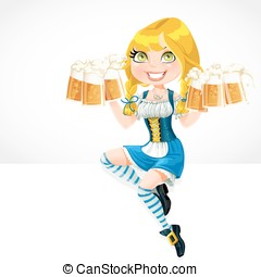Cute girl sitting on the banner white and offers Oktoberfest...