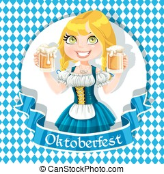 Pretty Blond girl with a glass of beer celebrating Oktoberfest banner