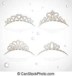 Elegant shiny tiara with precious stones isolated on white...