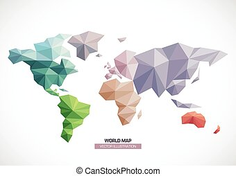 Vector world map design Triangle pattern continents with different colors