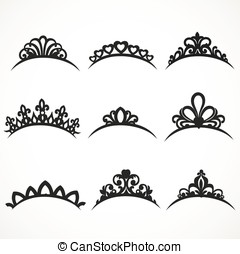 Set of silhouettes of tiaras of various shapes on a white...