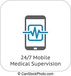 Mobile Medical Supervision Icon. Flat Design. Isolated...