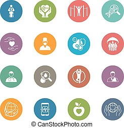 Medical and Health Care Icons Set. Flat Design. Isolated.