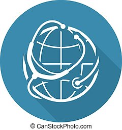 Global Health Care Icon. Flat Design.