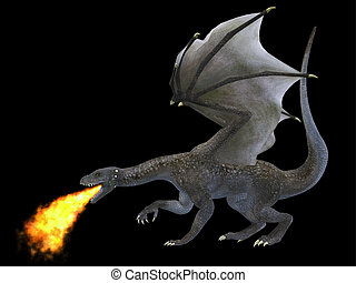 Fire Breathing Dragon - A fierce dragon with huge teeth and...