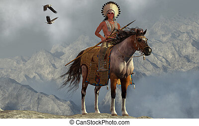Indian Soaring Eagle - Two Bald Eagles fly near an American...