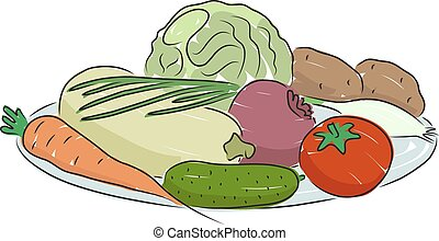 A plate of vegetables, vector illustration
